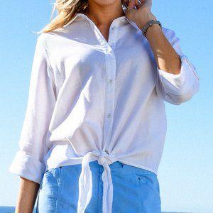 Fresh Produce White Santa Ana Tie Front Shirt Top
